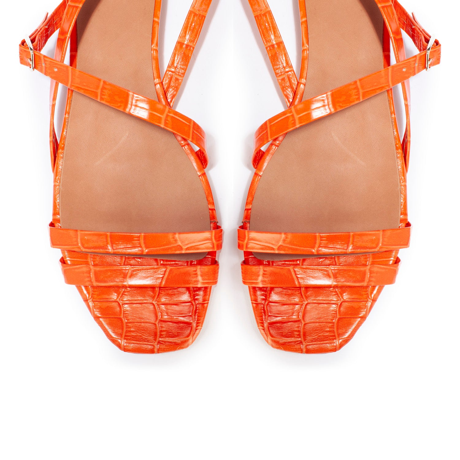 Sandales Agathe Croco Orange - Anaki Paris