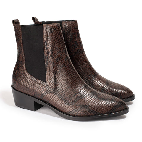 Bottines Clara Python Marron - Anaki Paris