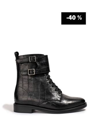 Bottines London Croco noir