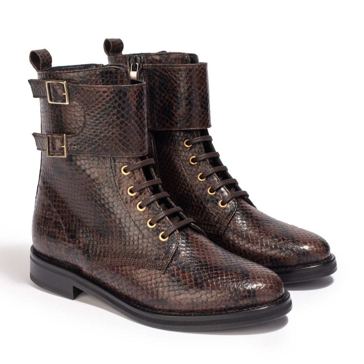 Boots London Python Marron - Anaki Paris