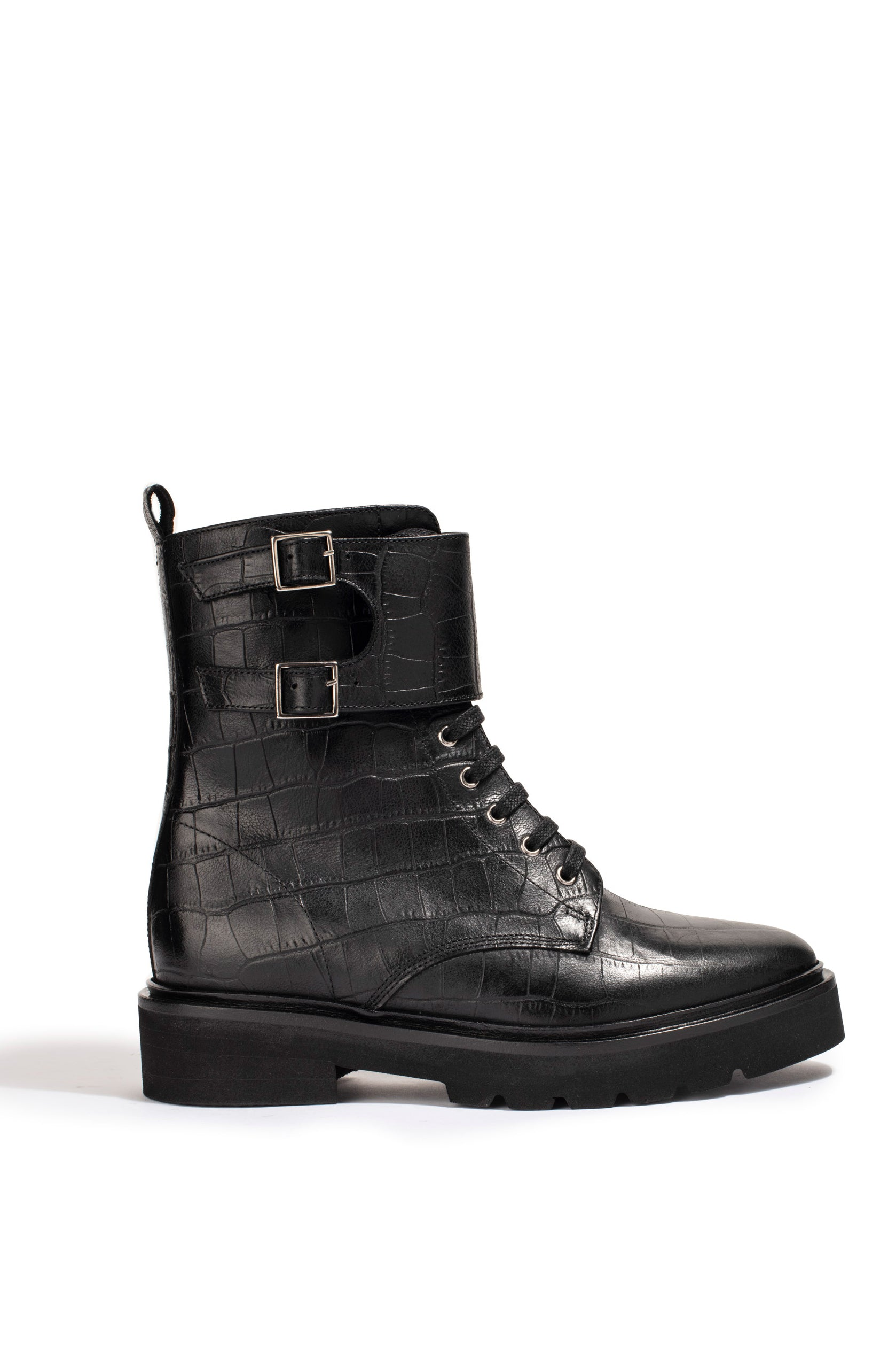 Bottines Lottie Croco Noir - Anaki Paris