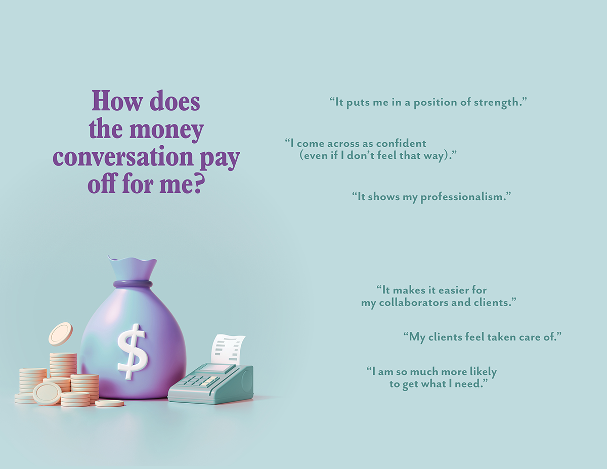 A page excerpt from Ilise Benun's Worth It guide: How does the money conversation pay off?