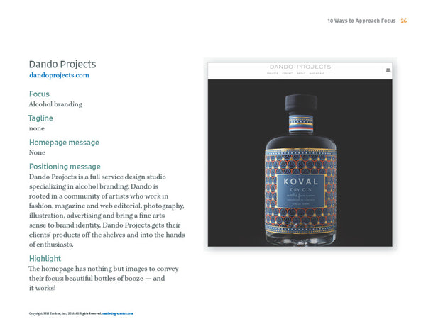Dando Projects, excerpt from the Pick a Niche Kit
