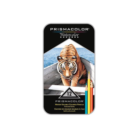 PRW-12 Prismacolor Water-Soluble Colored Pencils~ 12 Tin