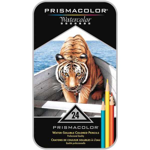 PRW-24 Prismacolor Water-Soluble Colored Pencils~ 24 Tin