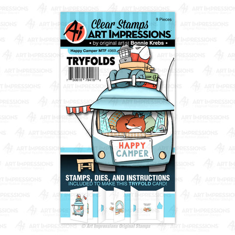 4969 - Clear Stamp & Die Set ~ Happy Camper Tryfold