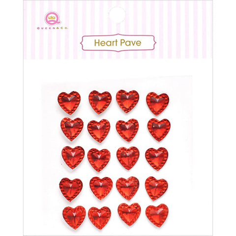 Heart Pave Crystal Embellishments ~ Assorted Colours