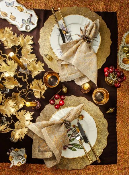 kim sybert thanksgiving table gold