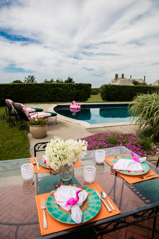 newport, poolside, entertaining, lunch, tabletop