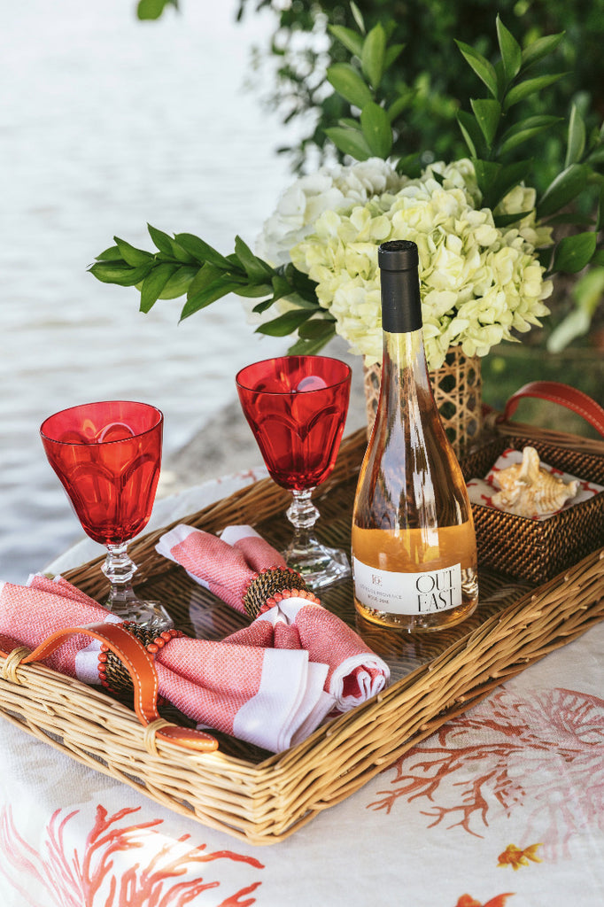 rose wine tray and acrylic red glasses