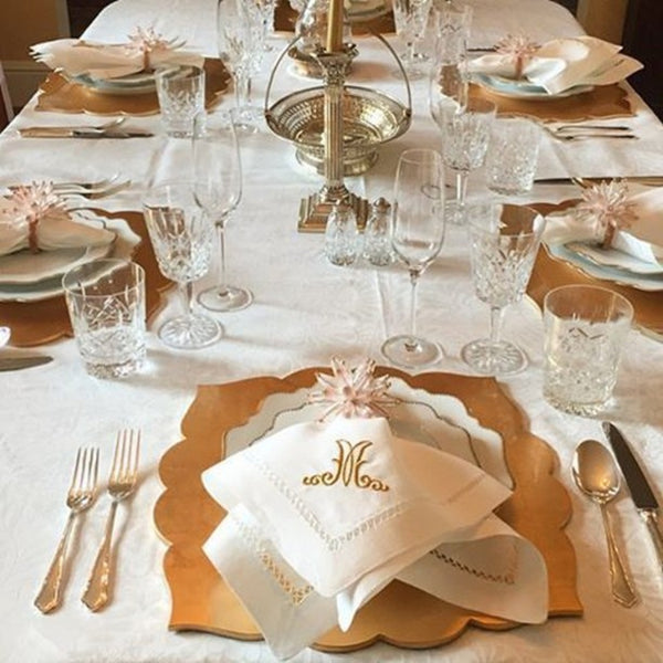 custom monogram gold holiday table top dinner