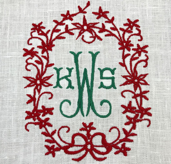 holiday monogram napkins or table cloth