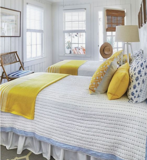 florida twin bedroom blue white yellow