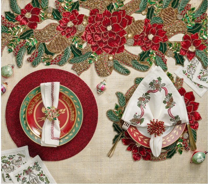 kim seybert holiday table christmas red and green