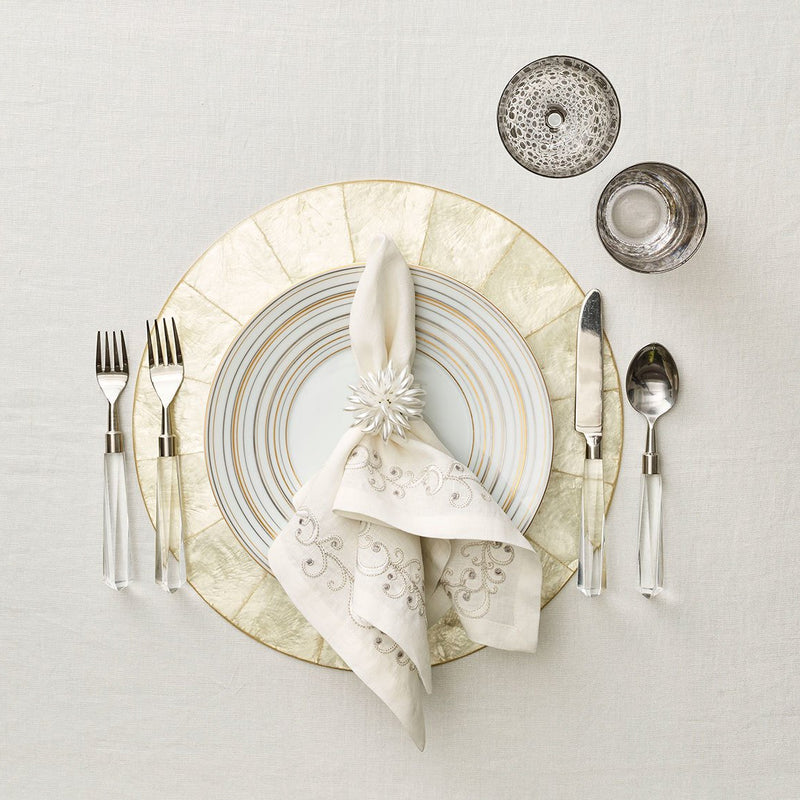 ROUND CAPIZ PLACEMATS IN NATURAL - Pioneer Linens