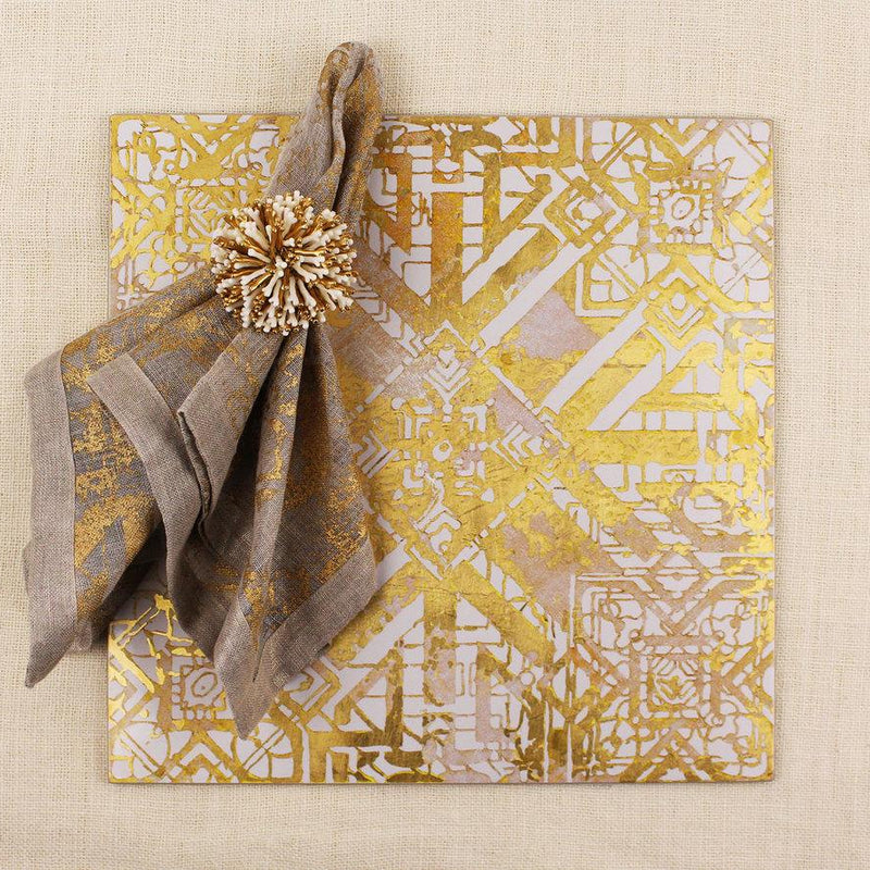SUNBURST NAPKIN RING IN IVORY & GOLD - Pioneer Linens