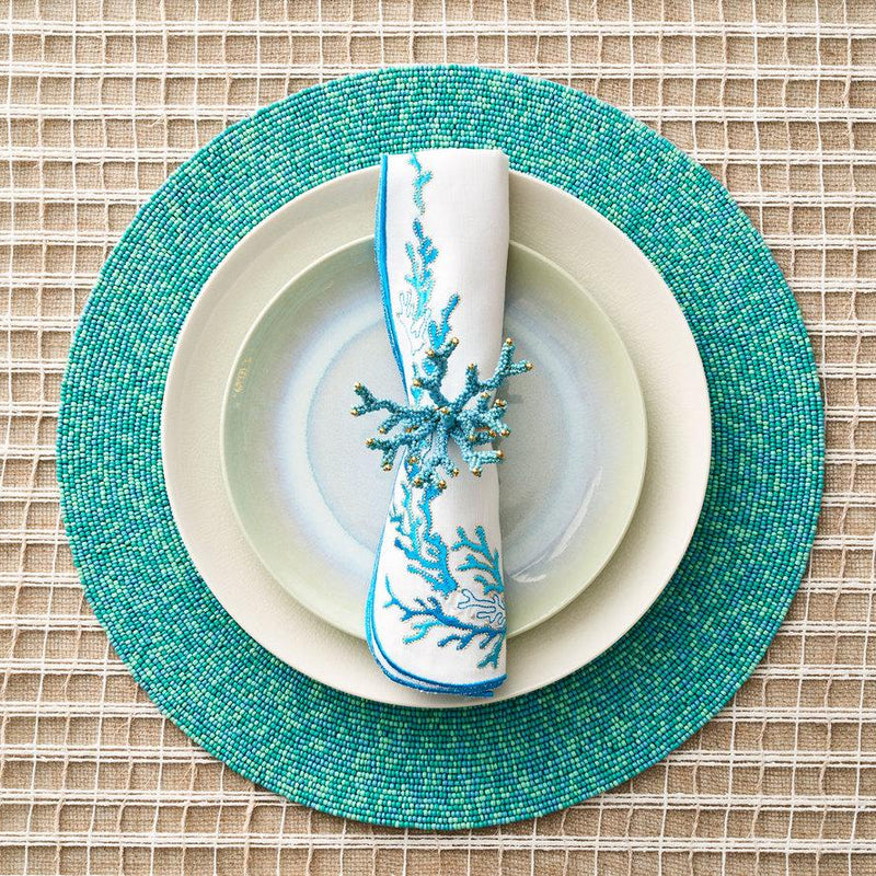 REEF NAPKINS IN WHITE, TURQUOISE & GOLD - Pioneer Linens