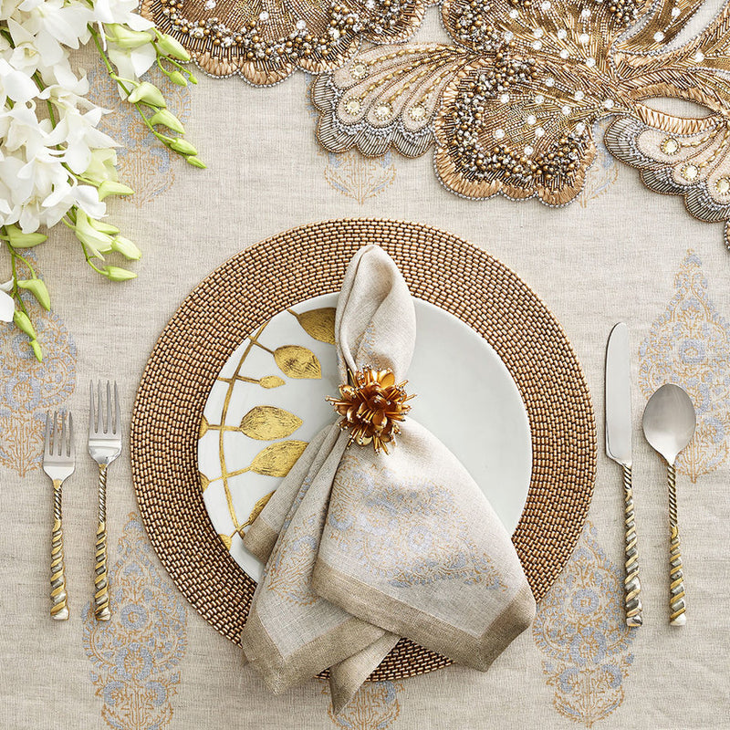 ROCOCCO RUNNER IN GOLD & SILVER - Pioneer Linens