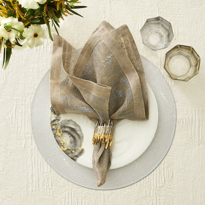 PEBBLE PLACEMAT IN SILVER - Pioneer Linens