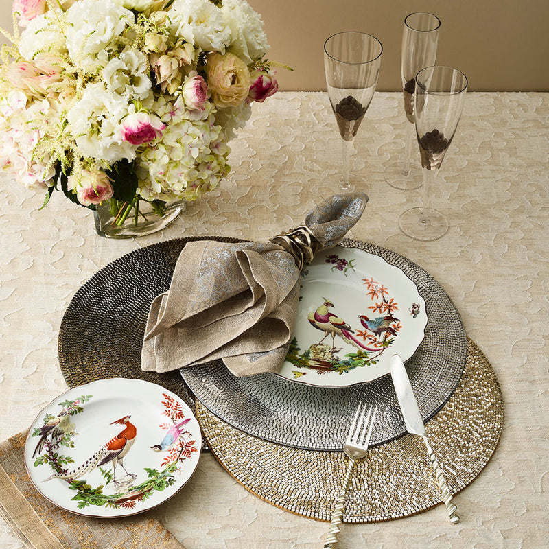 Distressed Napkin in Natural & Silver - Pioneer Linens