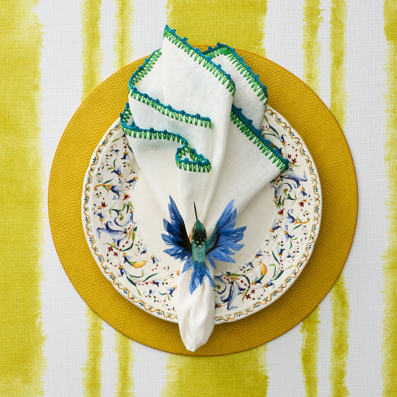 KNOTTED EDGE NAPKIN IN WHITE, TURQUOISE & GREEN - Pioneer Linens