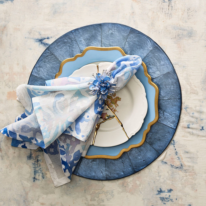 Round Capiz Placemats in Periwinkle - Pioneer Linens