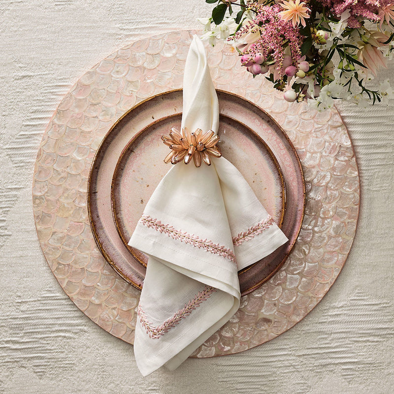 Camellia Napkin Rings in Blush - Pioneer Linens