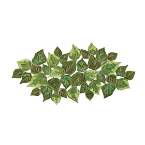 OVERLAPPED LEAVES BEADED TABLE RUNNER IN GREEN