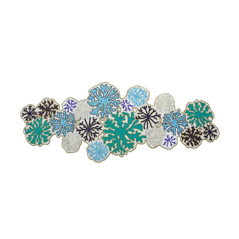 ROUND CORAL BEADED TABLE RUNNER IN TURQUOISE - Pioneer Linens