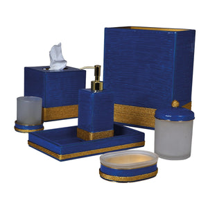 Admiral French Blue Enamel Gold Trim Vanity Set