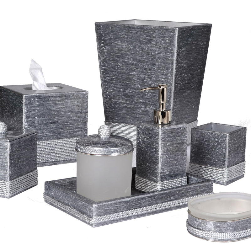Admiral Platinum Enamel with Silver Trim Vanity Set