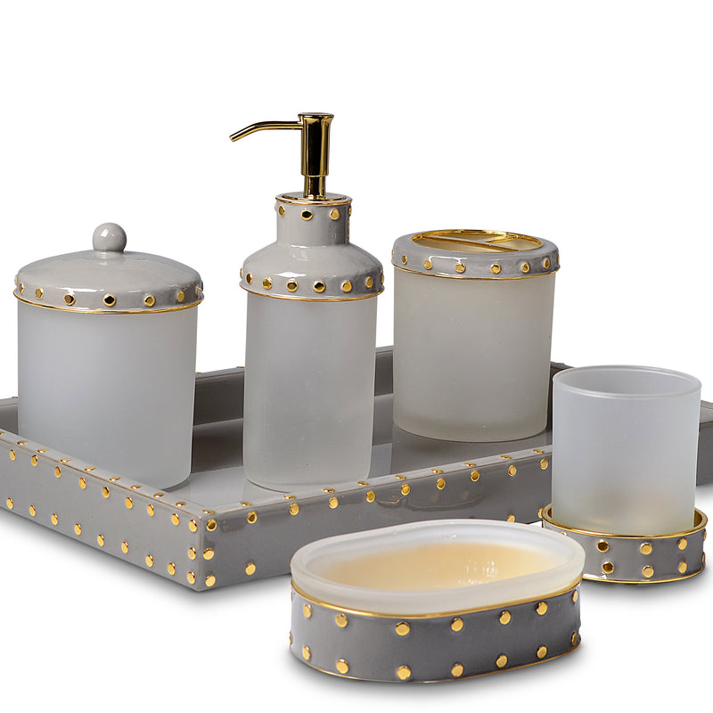 Aero Coffee Enamel Gold Trim Vanity Set