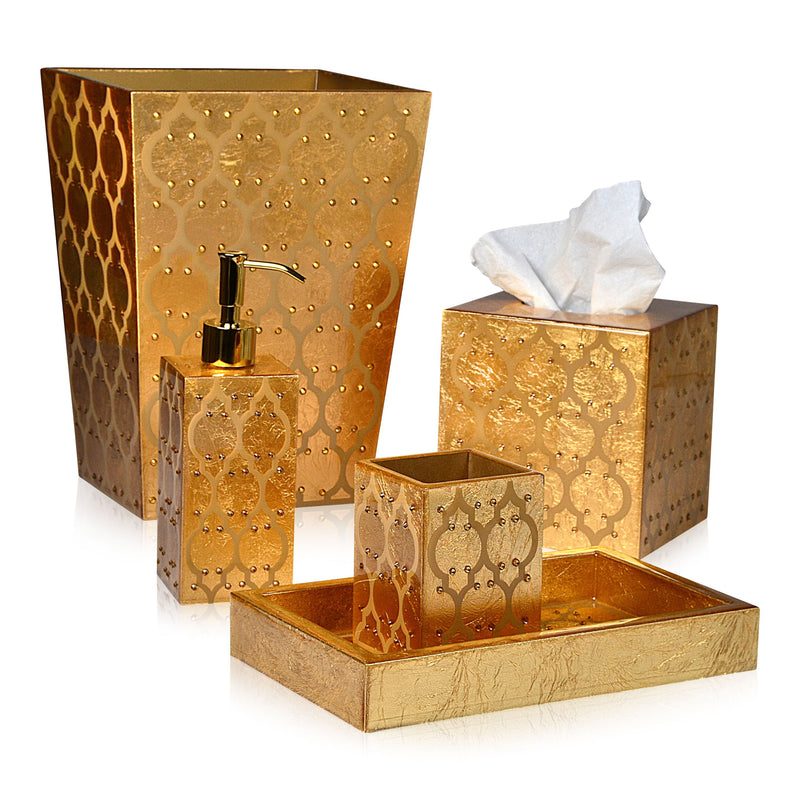 Arabesque Gold Leaf with Design and Clearcoat Vanity Set