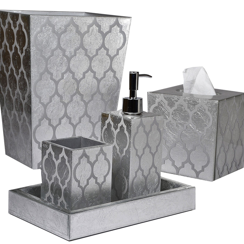 Arabesque Silver Leaf with Design and Clearcoat Vanity Set - Pioneer Linens