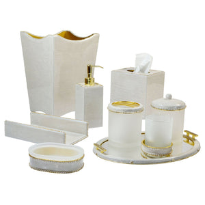 Audrey Moonglow Enamel with Rhinestone Gold Trim Vanity Set