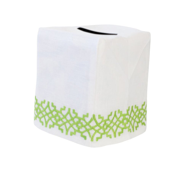 Chinois Tissue Box Cover Green - Pioneer Linens