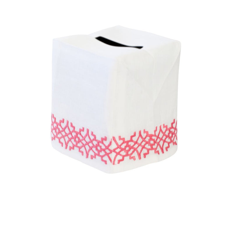 Chinois Tissue Box Cover Pink - Pioneer Linens