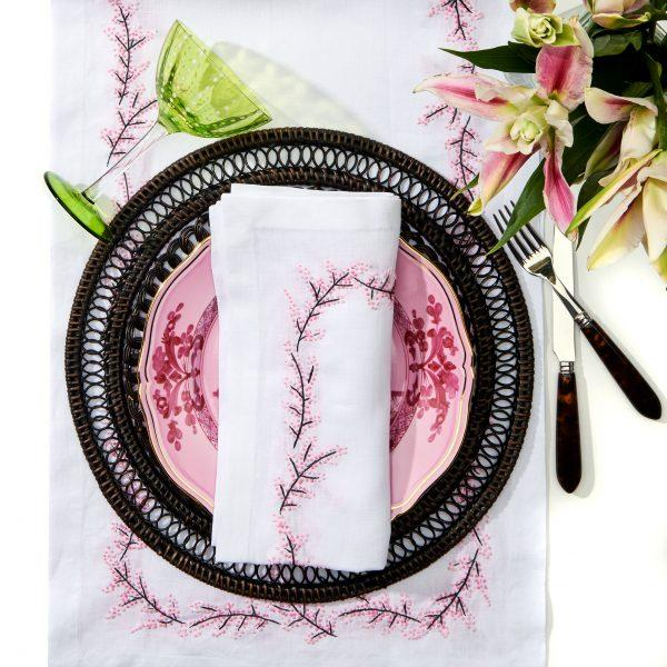 Floral Branch Embroidered Napkins - Pioneer Linens