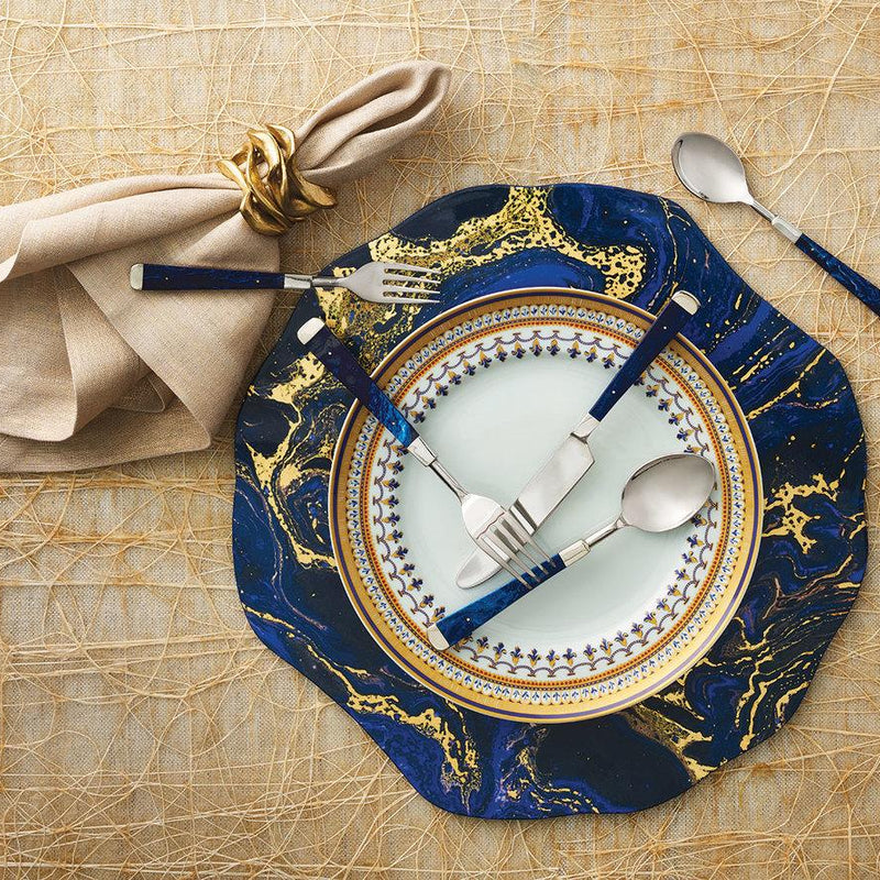 COSMOS PLACEMATS IN MIDNIGHT & GOLD - Pioneer Linens