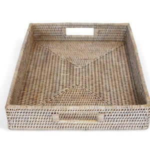 White Washed Rattan Tray W/ Handle