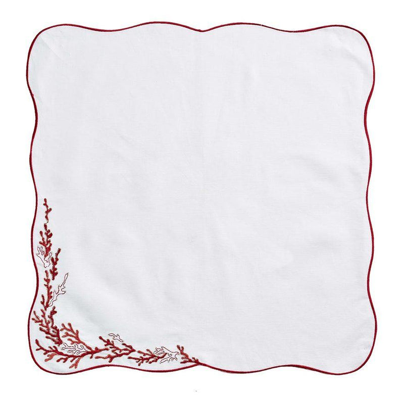 REEF NAPKINS IN WHITE, CORAL & GOLD - Pioneer Linens