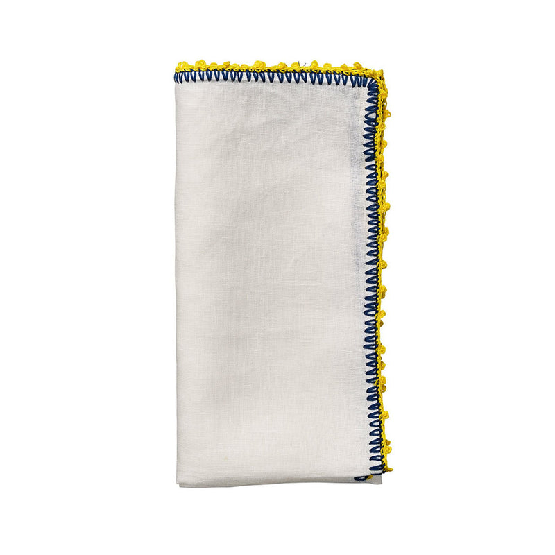 KNOTTED EDGE NAPKIN IN WHITE, BLUE & YELLOW - Pioneer Linens