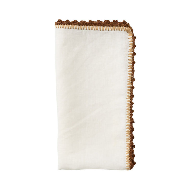 KNOTTED EDGE NAPKIN IN WHITE, NATURAL & BROWN