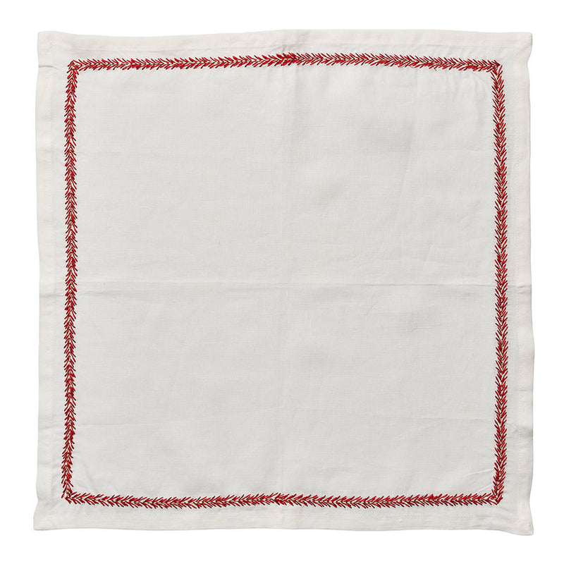 Jardin Napkins in White & Coral - Pioneer Linens