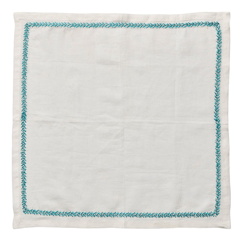 Jardin Napkins in White & Turquoise - Pioneer Linens