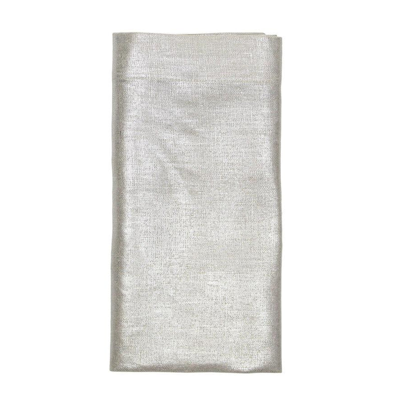 METALLIC LINEN NAPKINS IN NATURAL & SILVER - Pioneer Linens