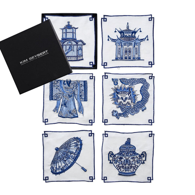INDOCHINE COCKTAIL NAPKINS IN WHITE & BLUE