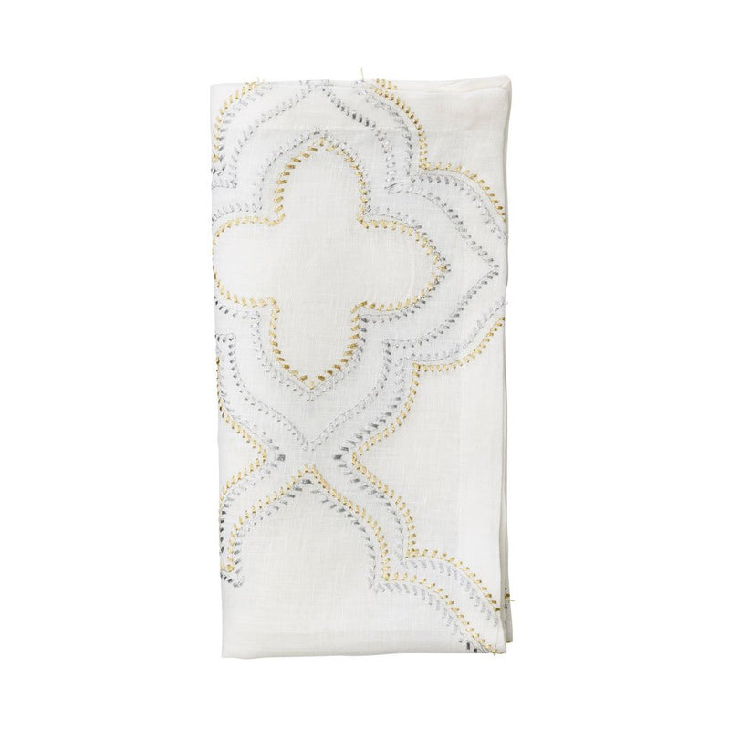 TANGIER NAPKIN IN WHITE, GOLD & SILVER - Pioneer Linens