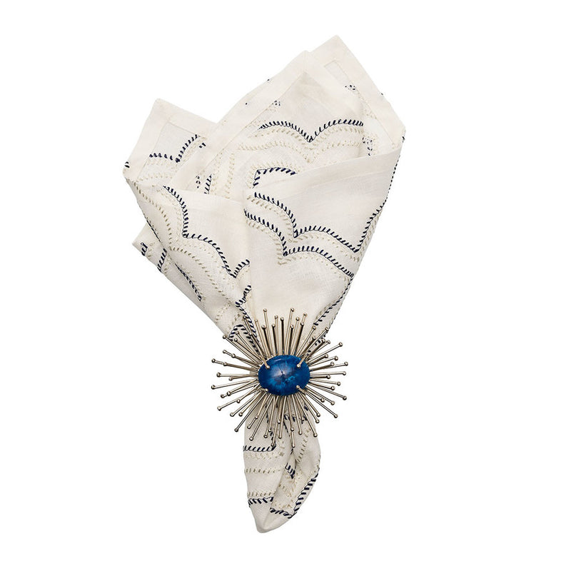 TANGIER NAPKIN IN WHITE & NAVY