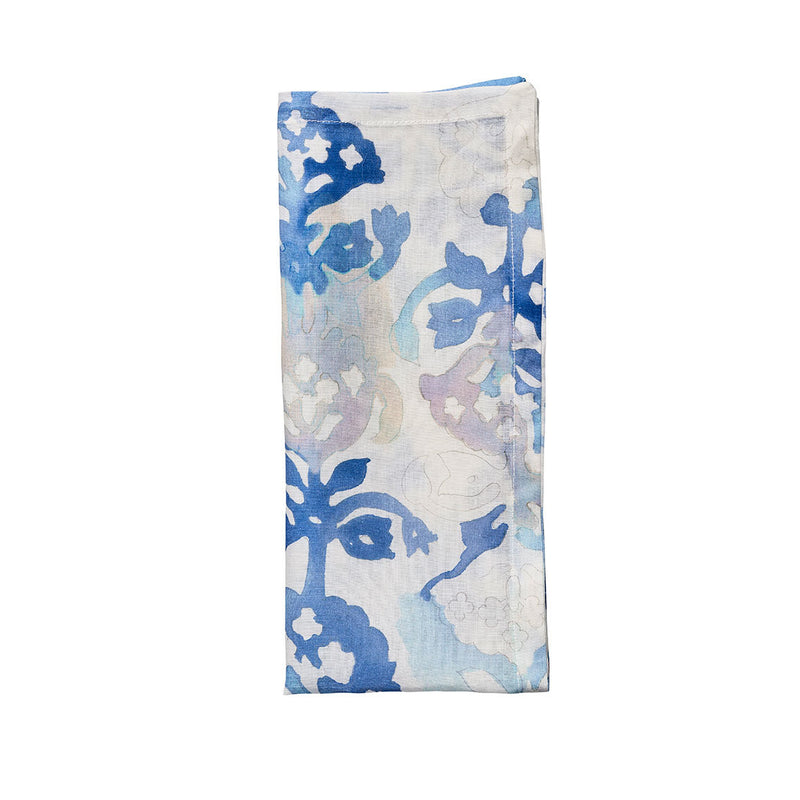 Watercolor Napkins in White & Multi - Pioneer Linens